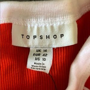 Top shop red and white crop top